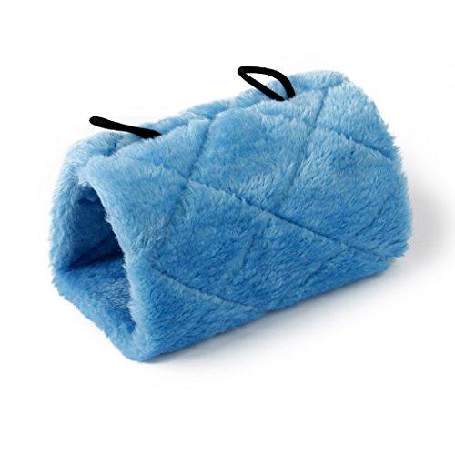 Nalmatoionme Parrot Perchoir Tente Hamac Grotte Cage à suspendre en peluche Lit (Bleu/L)
