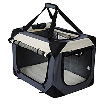 EUGAD 0141HT Cage de Chien en Oxford Sac de Transport Pliable,Taille 60x42x42cm,Gris