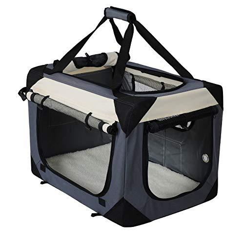 EUGAD Hundebox Faltbar Hundetransportbox Auto Transportbox Reisebox Katzenbox Box mit Hundedecke Oxford Grau 0145HT
