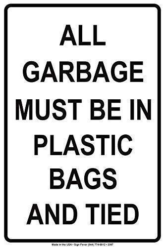 """Hinweisschild 20,3 x 30,5 cm, """"All Garbage Must Be in Plastic Bags and Tied Trash Rules Warnschild Metallschild Poster Eisen Malerei Kunst Dekoration für Bar Café Hotel Büro Schlafzimmer Garten"""