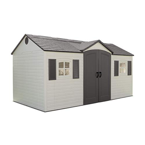 Lifetime 6446 Outdoor Storage Shed with Shutters, Windows, and Skylights, 8 by 15 Feet, Putty/Brown