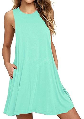 OMZIN Sommerkleid Leinen Kleider Damen V-Ausschnitt Strandkleider Einfarbig A-Linie Kleid Boho Knielang Kleid Mintgrün L