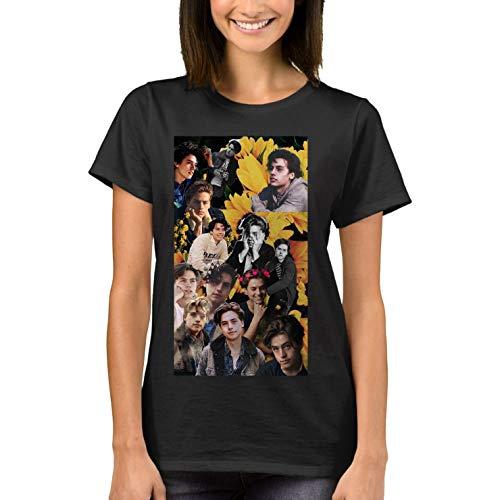 YUEXION Women's Cole Sprouse Art T-Shirts Balck L Black