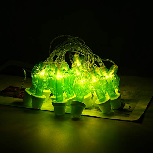 Uonlytech Cactus String Lights 20 LEDs Fairy String Lights Decorative Lamps Bulb Garland Window Curtain String Light Withoout Battery for Wall Tree Decor Green White