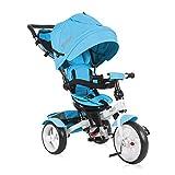 Lorelli Triciclo Neo 4 en 1 EVA, con Varilla de Empuje, Asiento Giratorio, Regulable, Color:Azul
