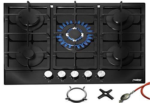 Phönix PG-901T Einbau Gaskochfeld Kochfeld Glas Gaskocher 5 Kochplatten autark (freistehend- / Einbau- Gaskochfeld) inkl. Gasschlauch-Regler Set für Propangasflaschen