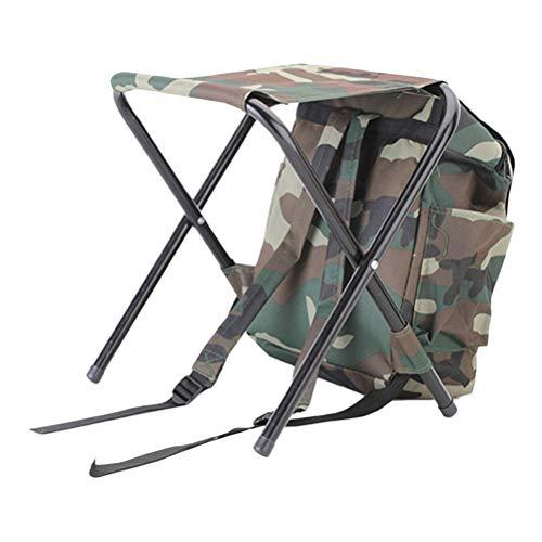 LIOOBO 2 in 1 Angeln Klappstuhl Stuhl Dual Verwendet Tragbare Paket Camouflage Leichte Rückenlehne Sitz für Camping Angeln Reisen BBQ Strand