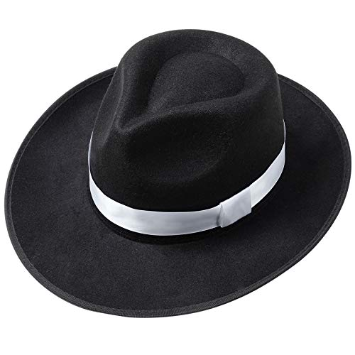 ArtiDeco Panama Hut Mafia Gangster Herren Filz Fedora Trilby Bogart Hut 1920 Stil Gatsby Kostüm Accessoires (Schwarz)