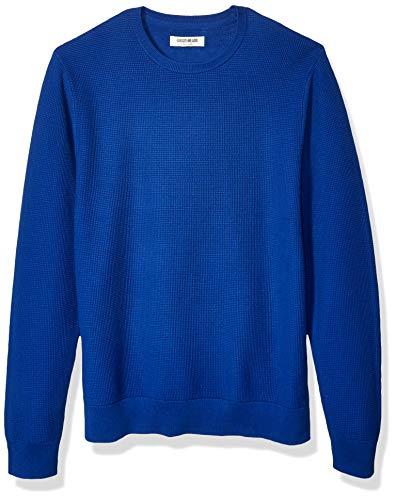 Amazon Brand - Goodthreads Men's Soft Cotton Thermal Stitch Crewneck Sweater, Bright Blue Medium
