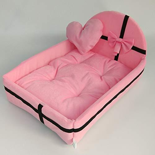 FidgetFidget Hundebett, Pet Princess Bett, Winter Warm Pet Bett mit Plüschkissen, für kleine mittelgroße Hunde, waschbar (Ohne das Liebeskissen) Rosa M