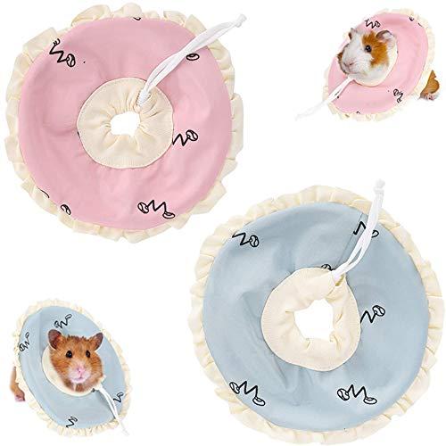 ASOCEA 2 collares de recuperación de cobayas de animales pequeños ajustables para protección de cuello círculo antimordeduras para curar heridas para conejillos de indias ratones ratones hurones