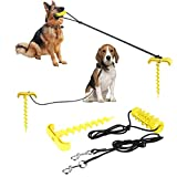 Dog Toothbrush Chew Toy-Dog Stake Elastic Pull Rope Molar Stick Pet Tie Out Cable for Yard Outdoor