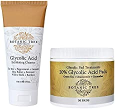 Kit Glycolic Acid Face Wash Cleanser + 20% Glycolic Acid Pad Treatments (Pack of 2)-AHA For Wrinkles and Lines Reduction-Acne Face Wash For a Deep Clean.