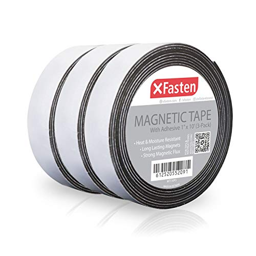 XFasten Magnetic Tape 1 Inches x 10 Feet (3-Pack) Magnetic Strip with Strong Self Adhesive - Ideal Magnetic Roll for Craft and DIY Projects - Sticky Magnets for Fridge and Dry Erase Board