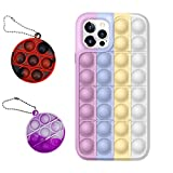 SEBL Group Fidget Toys Phone Case, 2PCS Simple Dimple Sensory Toy Keychain Funny Anxiety Relief Gift for Home Party Favors Office Gift for Kids & Adults (Multicolor 5,for iPhone 12)
