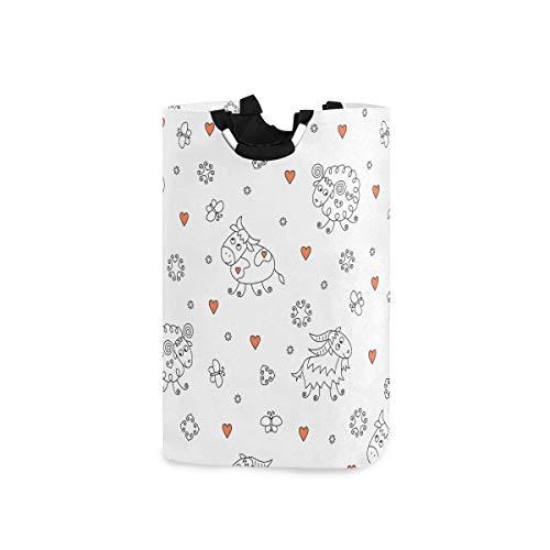 Panier à linge Panier à linge Panier de grande capacité avec poignées pour ranger les jouets de vêtements dans la chambre à coucher, la salle de bain, pliable - Ferme de vache et de mouton drôle de ba