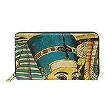 WowPrint - Cartera de piel con pintura egipcia antigua, gran capacidad, bolsa de embrague para almacenamiento de teléfono para viajes de compras