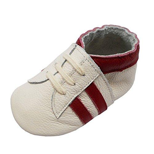 YIHAKIDS Babyschuhe Echtleder Weiche Wildleder Sohle Schuhe Kleinkind Lauflernschuhe Erste Walker Mokassins Multi-Farben Weichen Sneaker(Weiß mit roten Streifen,6-12 Monate,22 EU)