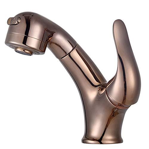 ZXK 銅のホットとコールドの引き込み式の洗面所の蛇口は、金の格納式シャンプー洗面台の蛇口をバラ ファッション (色 : ローズゴールド)