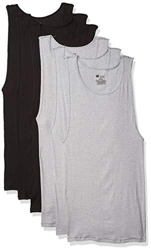 Hanes Camiseta Interior sin Etiqueta, para Hombre, de la Marca Comfortsoft teñida, 6 Unidades, Negro/Gris, Medium