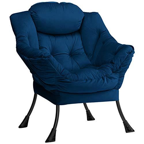 HollyHOME Poltrona, Relax Poltrona con Braccioli e Divano Pocket, Tessuto in Velluto, Leisure Sofa con Tessuto Moderno e Struttura in Acciaio, Blu Scuro
