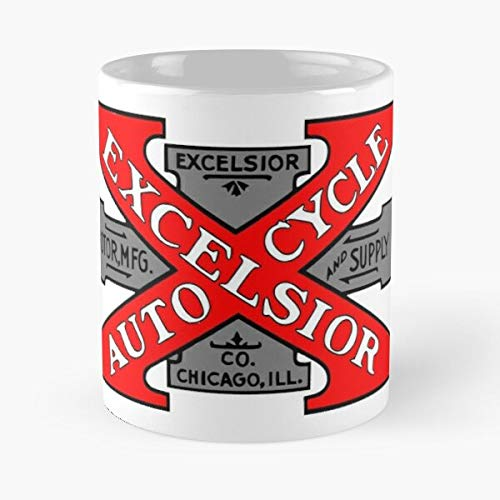 5TheWay Vintage Motorcycle Mug Logo Excelsior Best 11 oz Kaffeebecher - Nespresso Tassen Kaffee Motive