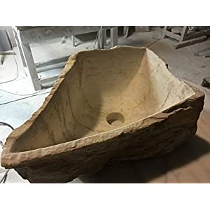 LAVABO MODELO YUKI. Lavabo de piedra color crema amarillento.Medidas 40x27x18 cm. Exterior natural.interior pulido…