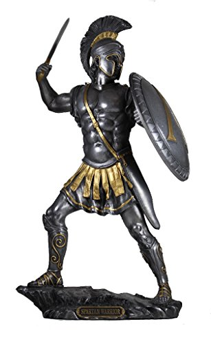 13.25 Inch Spartan Warrior with Sword and Hoplite Shield, Pewter