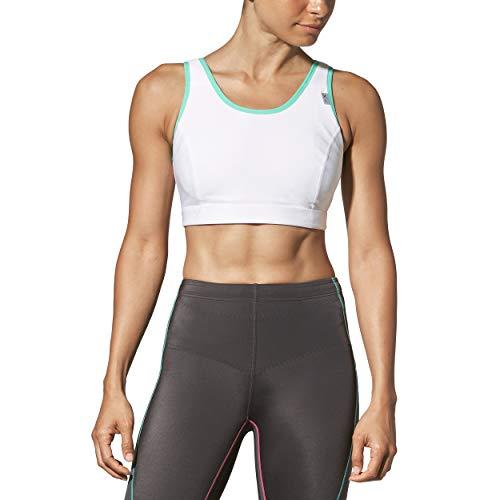 CW-X Women's Stabilyx Running Bra, White/Turquoise, 36DD
