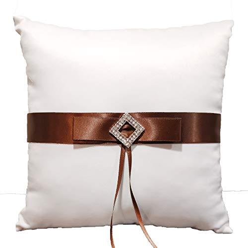 Cojín para alianzas de boda, color blanco, con cinta de raso marrón y diamantes de imitación, cuadrado 19,5 x 19,5 cm