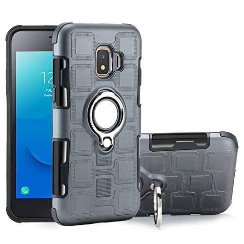 WANGZHEXIA Fundas para teléfono Galaxy J2 Core 2 en 1 Cube PC + TPU Funda protectora con soporte para anillo plateado giratorio de 360 grados