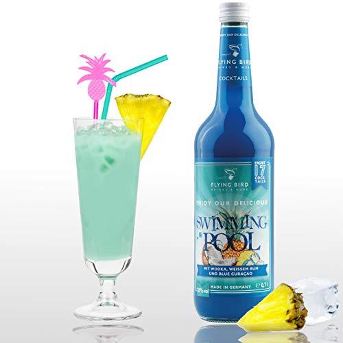 Swimming Pool 28% Vol. | Premix, Fertig Mix für 17 Cocktails mit Alkohol | Flasche 0,7l mit allen Zutaten | Einfach mit Ananassaft mixen