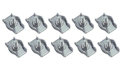 wellenshop 10 x Simplex Drahtseilklemme M6 für Seil Durchmesser 6mm Edelstahl Seilklemme