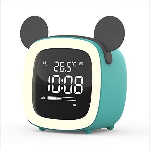 HHIAK666 Cartoon Tv Wecker, Kinder Schlafen Led Elektronische Uhr, USB-Lade-Student-Wecker, Multifunktionale Faule Uhr 7,9 X 6,6 X 8,2 cm Blaue Micky Maus