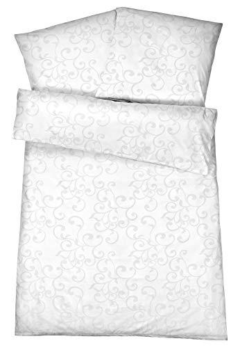 Carpe Sonno Edle Damast Bettwäsche mit Stil - 135 x 200 cm Ornament Muster in Weiß aus 100% gekämmter Baumwolle – Weisse Hotel-Bettbezüge mit Kopfkissen-hülle und mordernem Ranken Design