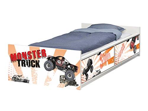 Stikkipix Monster Truck Möbelfolie | passend zum IKEA Kinderbett FLAXA | passgenaue Klebe-Folie für Schubkästen und Stirnseite | FLX07 | Möbel Nicht Inklusive