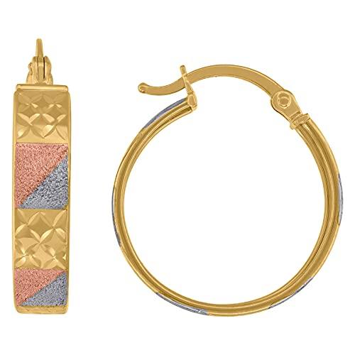 Pendientes de aro con textura de oro de 14 quilates, 20 mm, para mujer
