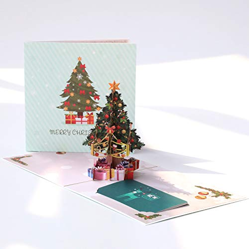 Paper Spiritz Pop Up Christmas Card, Christmas Tree, 3D Pop Up Card Holiday, Winter Greeting Card, Happy New Year Merry Christmas Gift Card