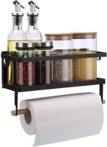 Magnetic Fridge Organizer, Paper Towel Holder, Kitchen Rack, Rustproof Spice Jars Rack, with 2 Removable Mobile Hooks (Black)