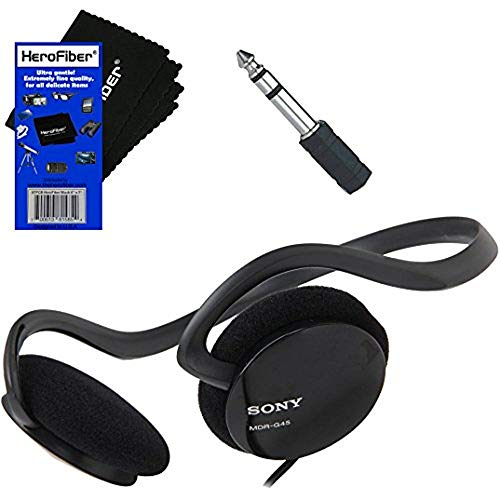 "Sony Behind-The-Neck Stereo Headphones with Powerful Bass + Mini Plug to 1/4"" inch Headphone Adapter & HeroFiber Ultra Gentle Cleaning Cloth for Sony Headphones"