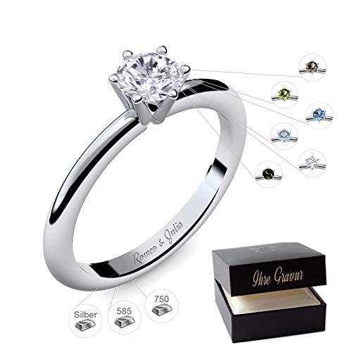 Verlobungsring Silber 925 Weißgold 585 750 PERSONALISIERT + ETUI mit individueller GRAVUR Damen-Ring Heiratsantrag Solitär-Ring Zirkonia Aquamarin Turmalin Blautopas Peridot Rauchquarz