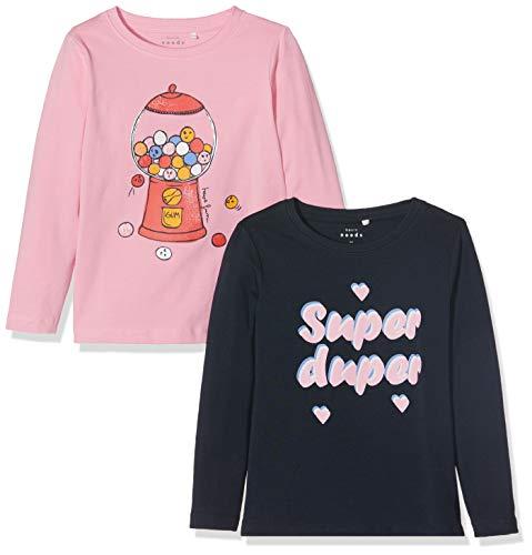 Name It Nmfvix 2p Ls Top L T- T-Shirt À Manches Longues, Rose (Prism Pink Detail: 2pack), 92 Bébé Fille