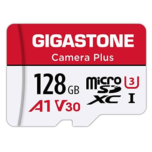 Gigastone Scheda di Memoria Micro SDXC da 128 GB, Telecamera Plus Serie, A1 U3 V30 UHS-1, Velocità Fino a 100/50 MB/Sec(R/W). Compatibile con GoPro Fotocamere Videocamere Tavoletta, con Adattatore SD