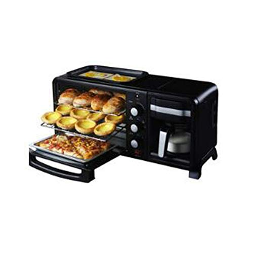 HLH Household Three-in-one Stainless Steel Multi-Function Breakfast Machine, Large-Capacity Coffee Oven, PP Food-Grade housing, Even Heating, Electric Oven