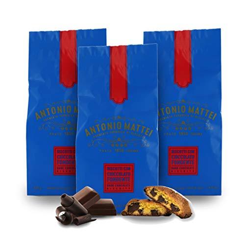 Cantucci con Cioccolato Fondente, Biscotti con Gocce di Cioccolato, Sacchetto 125g (Confezione da 3 Pezzi)