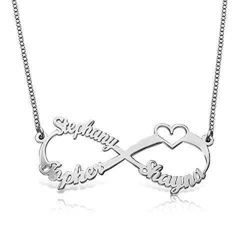 Personalisierte Namenskette aus 925 Sterling-Silber mit personalisierbarem Herz mit 3 Namen silber / schwarz
