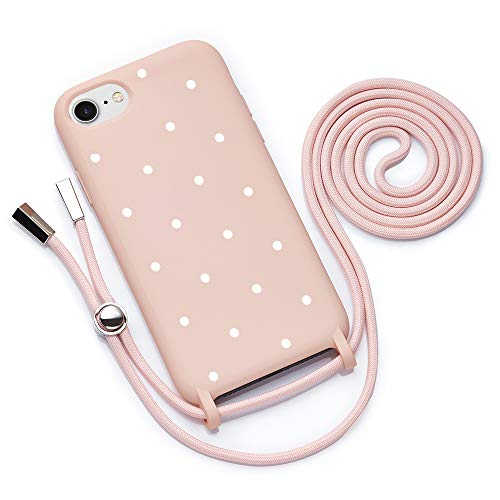 QULT Handykette kompatibel mit iPhone 7/8 Plus Hülle mit Band Handyhülle mit Kette zum Umhängen Silikon Necklace Kordel Bumper Case Pink Motiv Punkte