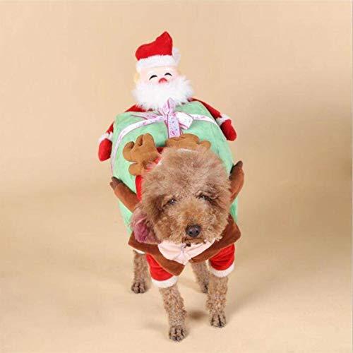 Disfraz para Mascotas Navidad, Perrito De Navidad Ropa, Ropa De Santa De Gato De Mascota, Campanas para Perros Y Regalo Dulce,S