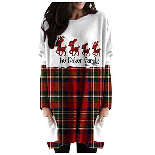 SEWORLD 2020 Weihnachtspullover Damen Schulterfreier Weihnachtspulli Weihnachten Langarm Kleid Santa Claus Druck Sweater Bekleidung Damen Große Größen mit Wasserfall Saum Hässlicher Pulli