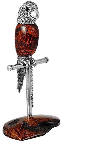 Papagei Figur Silber 925 Bernstein Amber ca. 50 gr. Handarbeit